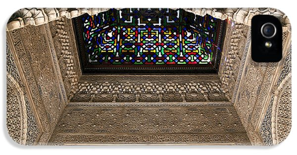 Andalusia iPhone 5 Cases - Alhambra stained glass detail iPhone 5 Case by Jane Rix