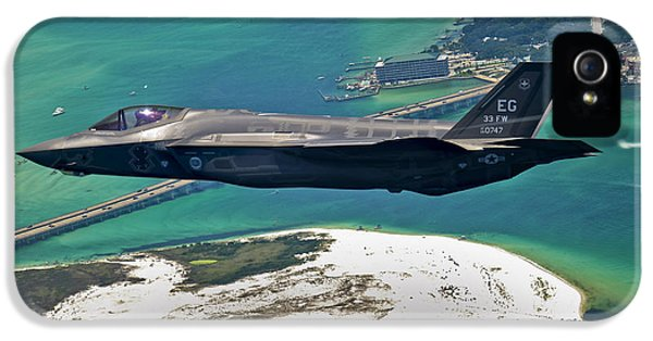 Marine Corps iPhone 5 Cases - An F-35 Lightning Ii Flies Over Destin iPhone 5 Case by Stocktrek Images