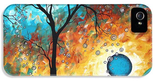 Contemporary Art iPhone 5 Cases - Aqua Burn by MADART iPhone 5 Case by Megan Duncanson