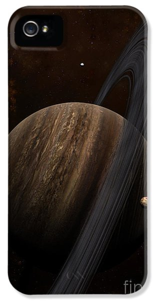 Circling iPhone 5 Cases - Artists Concept Of A Ringed Gas Giant iPhone 5 Case by Frieso Hoevelkamp