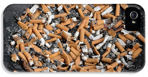 Nicotine iPhone 5 Cases - Ashtray full of cigarette stubs iPhone 5 Case by Matthias Hauser