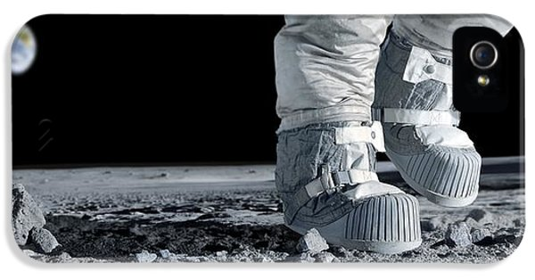 Apollo Print iPhone 5 Cases - Astronaut Walking On The Moon iPhone 5 Case by Detlev Van Ravenswaay