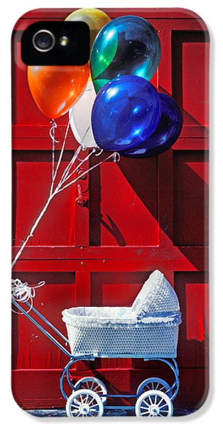 Babies iPhone 5 Cases - Baby buggy with balloons  iPhone 5 Case by Garry Gay
