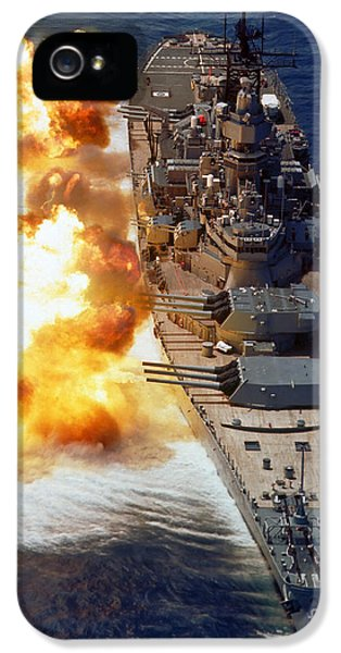 Caliber iPhone 5 Cases - Battleship Uss Iowa Firing Its Mark 7 iPhone 5 Case by Stocktrek Images