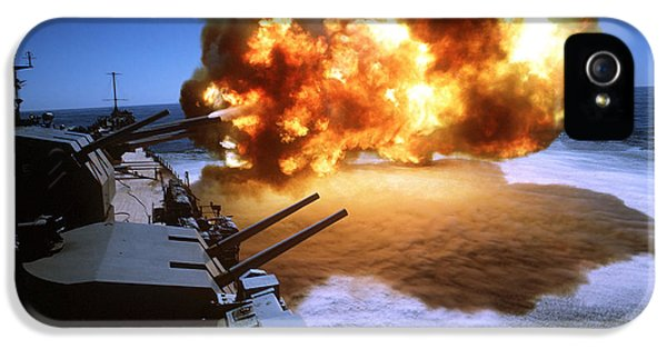 Caliber iPhone 5 Cases - Battleship Uss Missouri Fires One iPhone 5 Case by Stocktrek Images