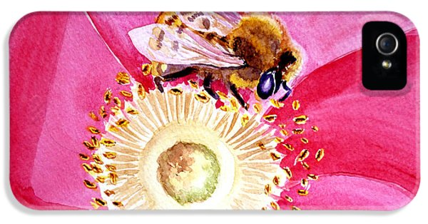 Bee iPhone 5 Cases - Bee On A Top iPhone 5 Case by Irina Sztukowski
