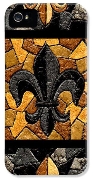 Three iPhone 5 Cases - Black and Gold Triple Fleur de Lis iPhone 5 Case by Elaine Hodges
