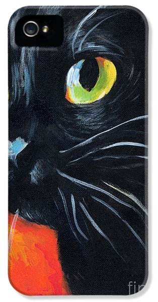 Black Cat iPhone 5 Cases - Black cat painting portrait iPhone 5 Case by Svetlana Novikova
