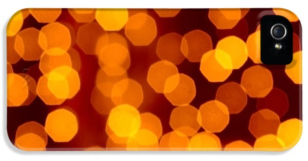 Orange iPhone 5 Cases - Blurred Christmas Lights iPhone 5 Case by Carlos Caetano