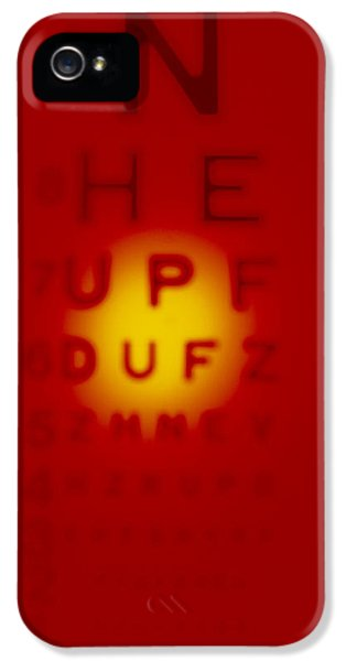 Diagnostic iPhone 5 Cases - Blurred View Of A Snellen Eye Test Chart iPhone 5 Case by Tek Image