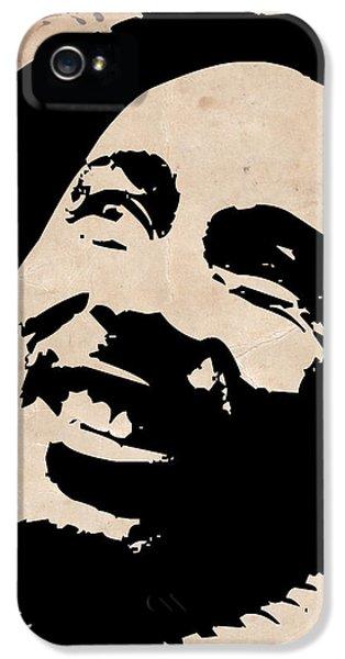 Bob Marley iPhone 5 Cases - Bob Marley Grey and Black iPhone 5 Case by Naxart Studio