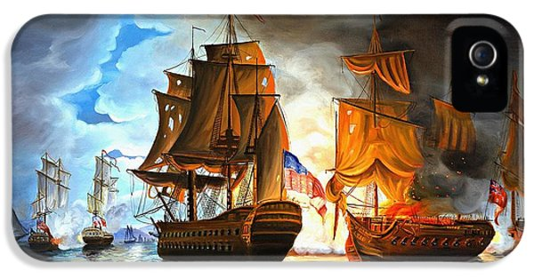 Navy iPhone 5 Cases - Bonhomme Richard engaging The Serapis in Battle iPhone 5 Case by Paul Walsh
