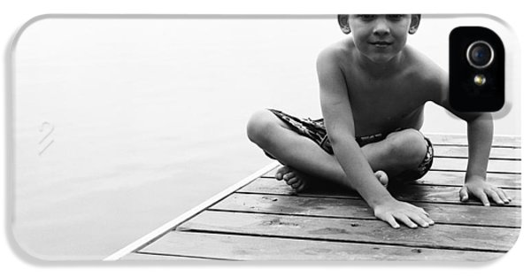 Boys Only iPhone 5 Cases - Boy Sitting On Dock iPhone 5 Case by Michelle Quance