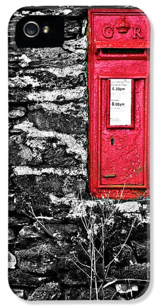 Wall iPhone 5 Cases - British Red Post Box iPhone 5 Case by Meirion Matthias
