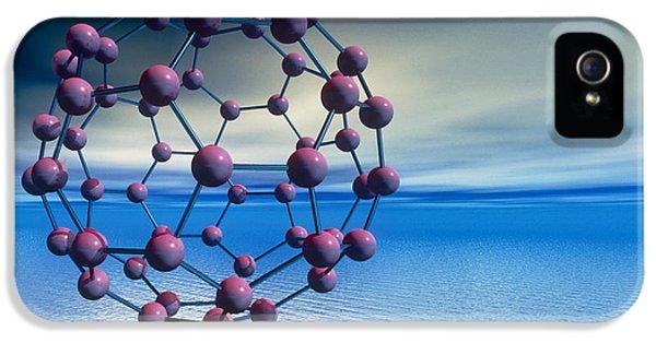 Molecular Graphic iPhone 5 Cases - Buckyball (c60) Molecule Over Water iPhone 5 Case by Laguna Design