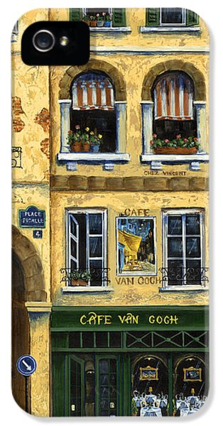 Black Cat iPhone 5 Cases - Cafe Van Gogh Paris iPhone 5 Case by Marilyn Dunlap