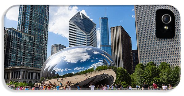 Cloud Gate iPhone 5 Cases - Chicago Bean Cloud Gate with People iPhone 5 Case by Paul Velgos