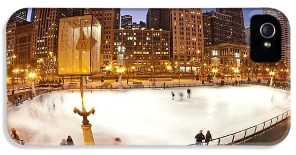 Michgan Avenue iPhone 5 Cases - Chicago ice rink and skyline at dusk iPhone 5 Case by Sven Brogren