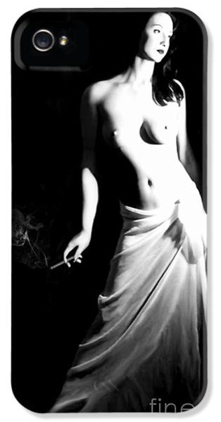 Artsy iPhone 5 Cases - Cigarette Break - Self Portrait iPhone 5 Case by Jaeda DeWalt