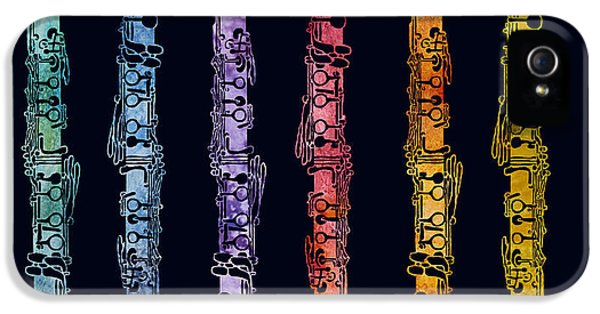 Wind iPhone 5 Cases - Clarinet Rainbow iPhone 5 Case by Jenny Armitage