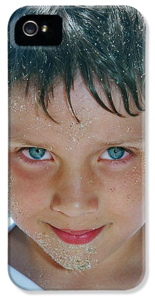 Boys Only iPhone 5 Cases - Close Up Of Boy Covered In Sand iPhone 5 Case by Michelle Quance