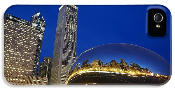 One Prudential Plaza Building iPhone 5 Cases - Cloud Gate The Bean Sculpture In Front iPhone 5 Case by Axiom Photographic