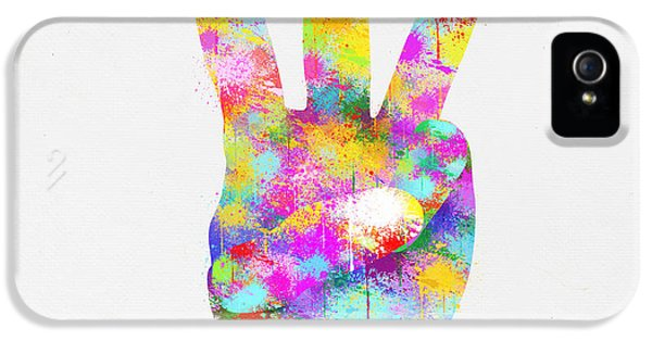 Arms iPhone 5 Cases - Colorful Painting Of Hand Point Three Finger iPhone 5 Case by Setsiri Silapasuwanchai