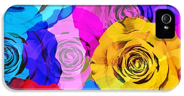 Roses iPhone 5 Cases - Colorful Roses Design iPhone 5 Case by Setsiri Silapasuwanchai