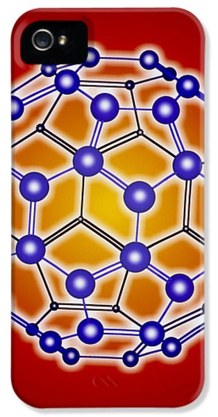 Molecular Graphic iPhone 5 Cases - Computer Graphic Of A Buckyball (c60) iPhone 5 Case by Pasieka