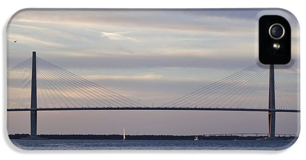 Cable iPhone 5 Cases - Cooper River Bridge and colorful clouds iPhone 5 Case by Dustin K Ryan