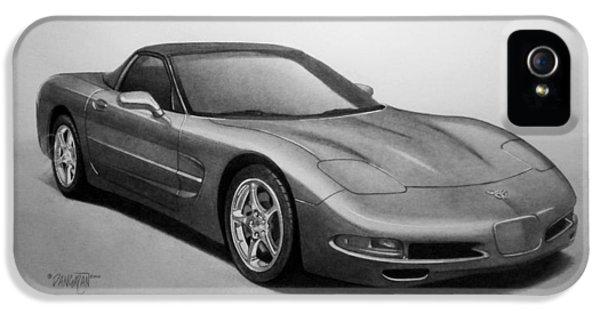 Pencil Drawing iPhone 5 Cases - Corvette iPhone 5 Case by Tim Dangaran