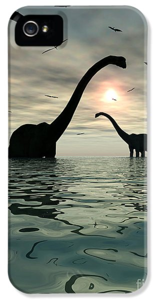 Roaming iPhone 5 Cases - Diplodocus Dinosaurs Bathe In A Large iPhone 5 Case by Mark Stevenson