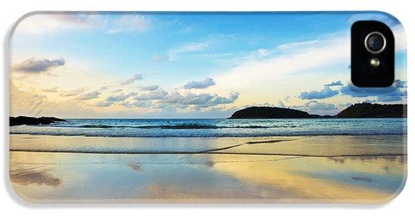 Weather iPhone 5 Cases - Dramatic Scene Of Sunset On The Beach iPhone 5 Case by Setsiri Silapasuwanchai