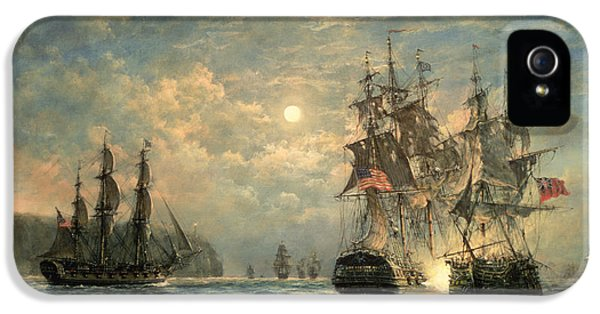 Moon iPhone 5 Cases - Engagement Between the Bonhomme Richard and the  Serapis off Flamborough Head iPhone 5 Case by Richard Willis