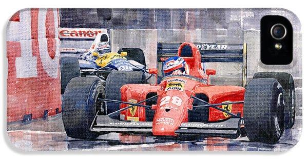 Jeans iPhone 5 Cases - Ferrari F1 Jean Alesi Phoenix US GP Arizona 1991 iPhone 5 Case by Yuriy  Shevchuk