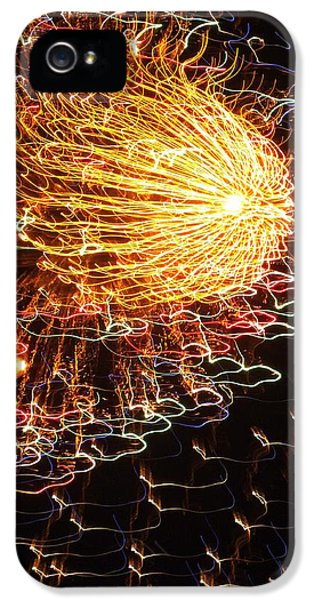 Fire Works iPhone 5 Cases - Fire Flower iPhone 5 Case by Karen Wiles