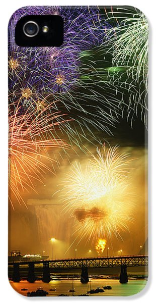 Colour Image iPhone 5 Cases - Fireworks Over Montmorency Falls, Quebec iPhone 5 Case by Yves Marcoux