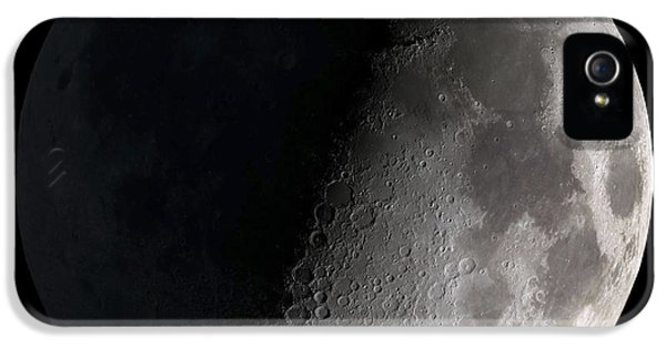 People iPhone 5 Cases - First Quarter Moon iPhone 5 Case by Stocktrek Images