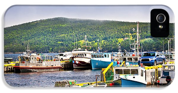 Newfoundland iPhone 5 Cases - Fishing boats in Newfoundland iPhone 5 Case by Elena Elisseeva