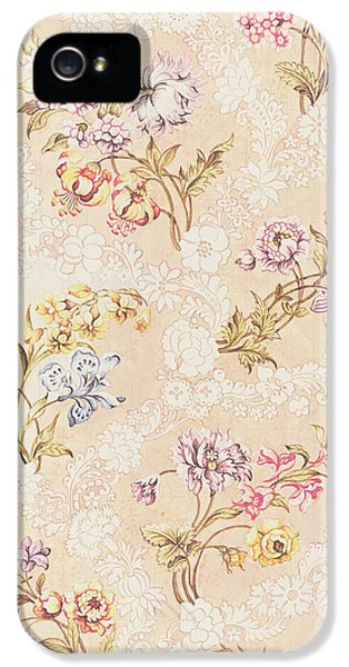 Arts And Crafts Movement iPhone 5 Cases - Floral design with peonies lilies and roses iPhone 5 Case by Anna Maria Garthwaite