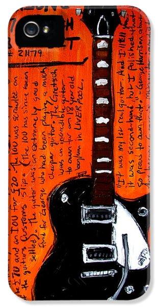 Geroge Harrison iPhone 5 Cases - George Harrisons Gretsch iPhone 5 Case by Karl Haglund