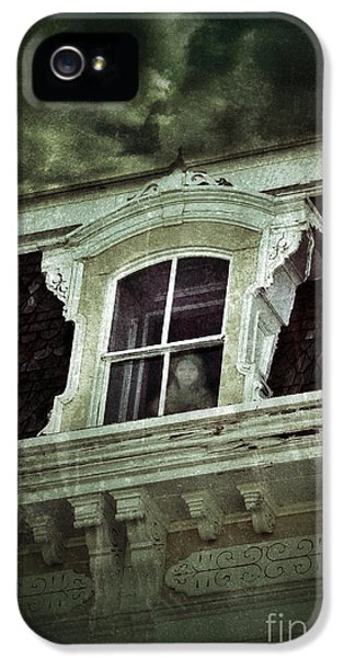 Haunted Houses iPhone 5 Cases - Ghostly Girl in Upstairs Window iPhone 5 Case by Jill Battaglia