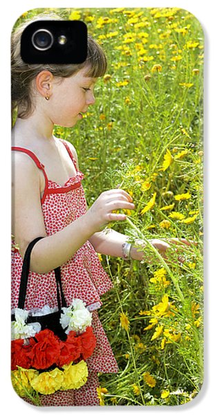 Children Only iPhone 5 Cases - Girl Picking Flowers iPhone 5 Case by Amir Paz