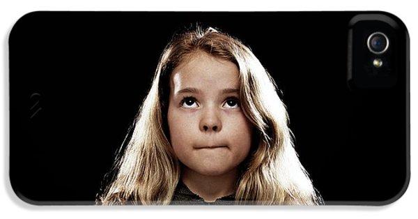 Filament (lightbulb) iPhone 5 Cases - Girl Standing Beneath A Lightbulb iPhone 5 Case by Kevin Curtis