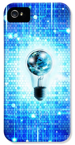 Electronic iPhone 5 Cases - Globe And Light Bulb With Technology Background iPhone 5 Case by Setsiri Silapasuwanchai