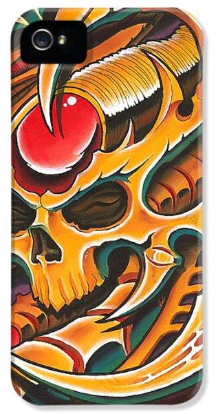 Bio-mechanical iPhone 5 Cases - Gold BioMech Skull iPhone 5 Case by Joe Riley