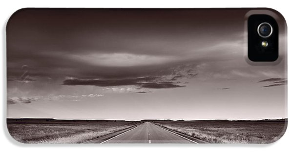 Road iPhone 5 Cases - Great Plains Road Trip BW iPhone 5 Case by Steve Gadomski