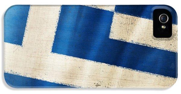Dirty iPhone 5 Cases - Greece flag iPhone 5 Case by Setsiri Silapasuwanchai