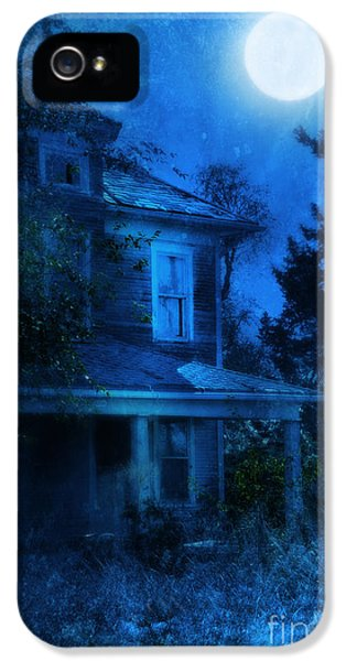 Haunted Houses iPhone 5 Cases - Haunted House Full Moon iPhone 5 Case by Jill Battaglia