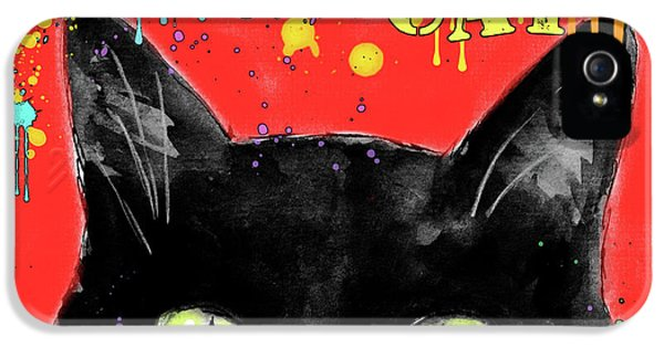 Black Cat iPhone 5 Cases - humorous Black cat painting iPhone 5 Case by Svetlana Novikova